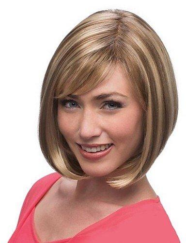 Haarpflege Glatte Perücke Mit Pony Mittel-lang Stufen-schnitt Wellen Natürlich Aussieht Wig 100% Garantie