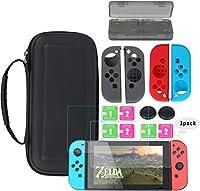 JIA JUN Nintendo Switch Schutz Kit, 7 in 1 Switch Schutz Zubehörset Beinhalteteine Nintendo Switch Tasche, Game Card Schutzhülle, 3x Displayschutzfolie, Schutzhüllefür die Joy-Con