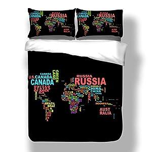 ropa de cama doble Mapa del mundo microfibra Patrón geométrico impreso Decoración del hogar 3 piezas acolchar funda de almohada Enviar regalos para hombres y mujeres