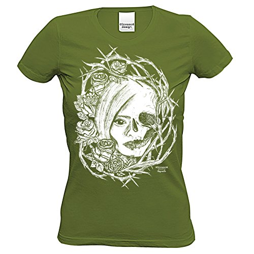 Totenkopf : Skull Biker Freizeit Shirt für Frauen Mädchen : Halloween Outfit Farbe: khaki Gr: L (Frauen Halloween Outfit)