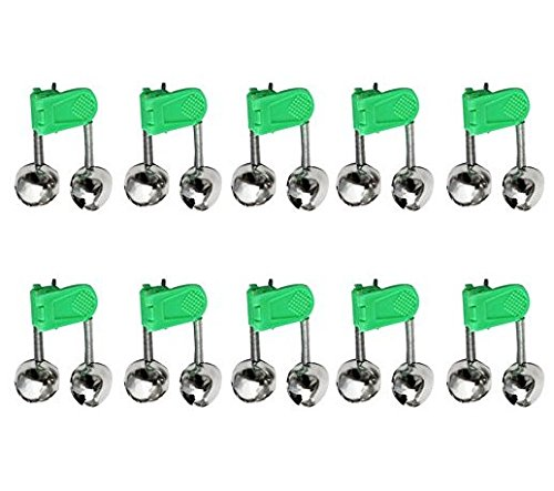 Uni coco10pcs LED Twin Bell Angel Dispositivo Green Rod Clip Tip Lights picada Cebo Alarma Pesca Alarma Ultra