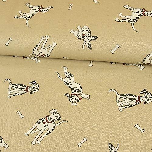 Stoffe Werning Dekostoff Dalmatiner Hunde beige Canvasstoff Dekorationen Deko Tiermotiv - Preis Gilt für 0,5 Meter -