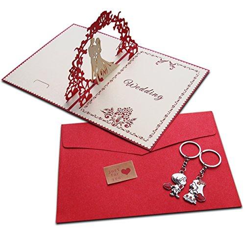 Juego de tarjetas de regalo de boda de lujo, tamaño grande, 3D, con llavero de pareja de boda, sobre de papel kraft y pegatina de Kraft, regalo hecho a mano, llavero, tarjeta de felicitación, tarjetas de invitación para parejas