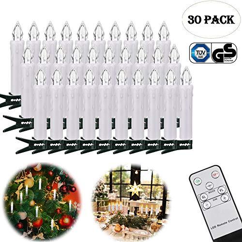 LED Kerzen, Weihnachtskerzen Lichterkette, Weihnachts Kerzen Kabellos mit Fernbedienung,Dimmbar Kerzenlichter Flammenlose Weihnachtskerzen für Weihnachtsbaum, Weihnachtsdeko, Hochzeit, Party (30er)