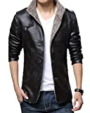 Giacconi Invernali Uomo Giaccone Caldo Giacca Di Pelle Cappotto Spesso Nero XL