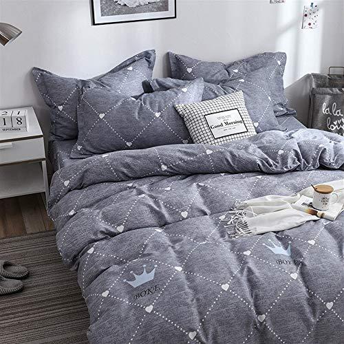 UOUL Bettwäscheset Baumwolle Gitter Dunkelblau Nicht Verblassen Komfort Schlafzimmer Trends Junge Männer Und Frauen Twin King,Gray,6Ft Bed - Bettbezug Twin Männer