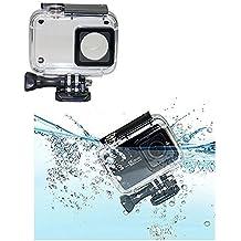 JZK® 45m bajo el agua Funda impermeable cubierta carcasa waterproof con tornillo y adaptador roscado para Xiaomi Yi 4k cámara (negro para Yi 4k)