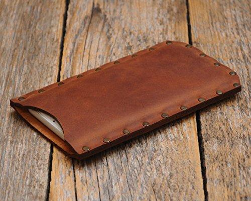 Marron housse en cuir pour Samsung Galaxy S9 S8 étui pochette case coque cover. Coutures rivetées