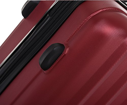 TSA-Schloß 2080 Hangepäck Zwillingsrollen neu Reisekoffer Koffer Trolley Hartschale XL-L-M(Boardcase) in 12 Farben (Weinrot, Set) - 4