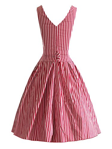 iLover 40s 50s 60s Rockabilly Solid Dress Vintage Pin-up Cocktail Soirée Balançoire Red5