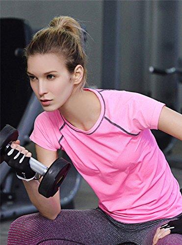 Qutool Leisure-Maglietta a maniche corte da donna, per Yoga, sport, ecc 2Pink