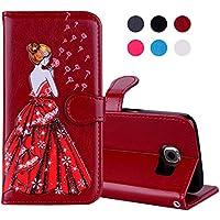 Hülle für Samsung Galaxy S7,Samsung Galaxy S7 Lederhülle,Leweiany Leder Case Ledertasche Rot Luxus Shinning Glänzend... preisvergleich bei billige-tabletten.eu