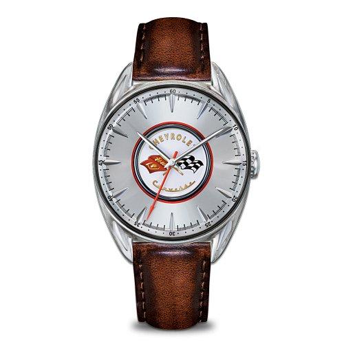 classic-corvette-gedenkmunze-edelstahl-herren-armbanduhr-mit-chevy-corvette-logo
