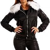 Damen Bomberjacke Gefüttert mit Kunstfellkragen Fliegerblouson Winter Jacke, Farbe:Schwarz/Weiß Fell;Größe:40/L