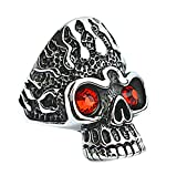Beglie Ringe für Herren Edelstahl Breiter Ring Edelstahl Flamme Rot Zirkonia Augen Totenkopf Ringe Herren Gothic Silber Schwarz Band Ring Männer Größe 57 (18.1)