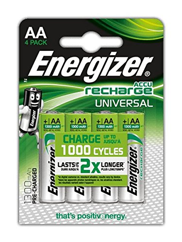 Energizer NimH-Akku Rechargeable Universal Mignon (1,2Volt 1300mAh, vorgeladen 4er-Packung)