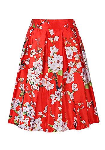 casualqa-Vintage-de-la-mujer-flores-imprimir-Midi-plisada-alta-cintura-falda