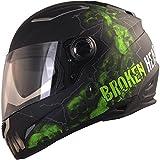 Broken Head Broken Skull | Integral-Helm mit Sonnenblende - Motorradhelm - schwarz grün - Sonnen-Visier (L 59-60 cm)