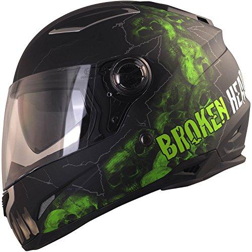 Broken Head Broken Skull | Integral-Helm mit Sonnenblende - Motorradhelm - schwarz grün - Sonnen-Visier (XL 61-62 cm)