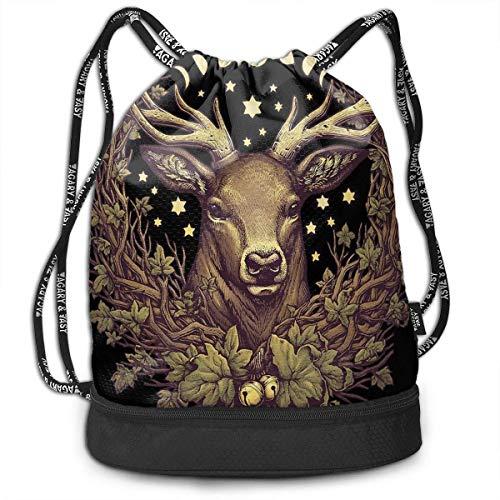 Men & Women Waterproof Large Storage Drawstring Backpack - Cernunnos Stag Deer Leaves Cinch Backpack Sackpack Tote Sack for Gym Hiking School