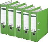 Sparpack Leitz 1010 Qualitäts-Ordner Plastik brei, mit patentierter 180º-Präzisionsmechanik 14 Farben zur Auswahl (5, hellgrün)
