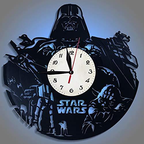Yushufang Schallplatte Wanduhr, Led Nachtlicht 12-Zoll-Retro-Wanduhr Batteriebetriebene Fernbedienung Dekorative Mute Clock für Freunde Geschenk - Mit Ruhiges Bad-fan Licht