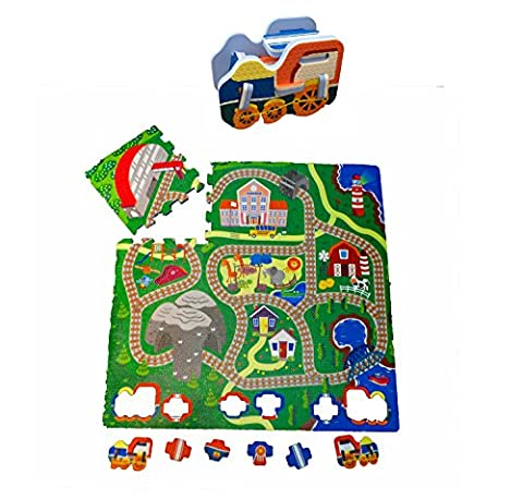 Fun Floor Railway Train Foam Puzzle Playmat With Pop Out