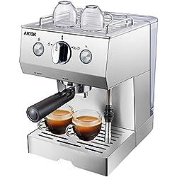 AICOK 15 Bar Espressomaschine | 1140 Watt kaffeemaschine | Cappuccino und Latte | Professionelle Milchaufschäumdüse | Schnelles Aufheizen | 1.5 L Großer Wassertank | Edelstahl