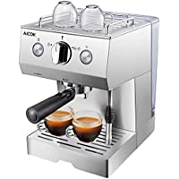 Aicok Cafetera de Espresso Manual de 15 Bares, Para espresso latte y cappuccino con vaporizador de leche y capacidad de 1,5 litros Acero inoxidable, Color Plata