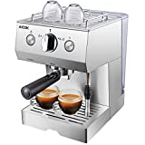 Aicok Cafetera Espresso 15 Bares, Cafetera Cappuccino y Latte, Boquilla de Espuma de Leche Profesional | 1.5 L Tanque de Agua | Calentamiento Rápido | 2 Tazas Función | Todo Acero Inoxidable  Plata