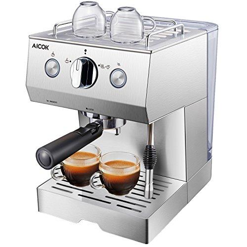 Aicok Kaffeemaschine Edelstahl | Espressomaschine | 15bar | Cappuccino und Latte | Professionelle...