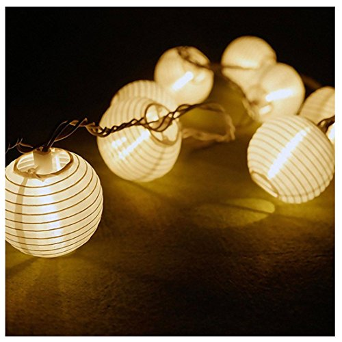 Kingko® Solar LED Laternen String Lights, 30 LED Outdoor dekorative Stringed LED String Lichter Laternen für Party, Weihnachten, Garten, Patio, Halloween, Dekoration (Weiß)