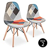 Mc Haus Pack 2 Sillas Comedor Vintage Diseño Tapizado