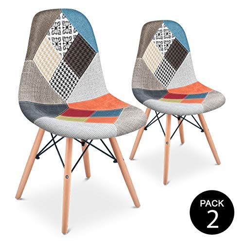 Mc Haus Pack 2 Sillas Comedor Vintage Diseño Tapizado Estilo Patchwork, Naranja,...