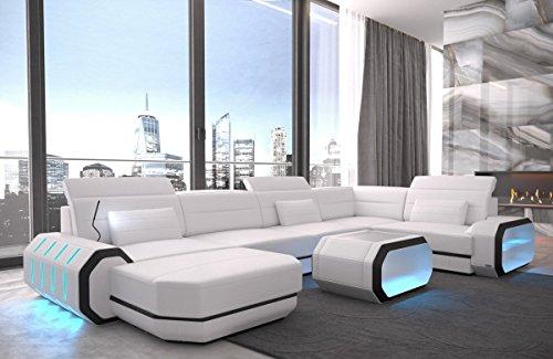 Sofa dreams roma u - divano in pelle, colore: bianco/nero