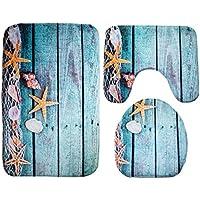 Ensembles de tapis de salle de bain Ounona Monde marin, tapis de bain + tapis contour w.c.+ Tapis pour abattant w.c. 3pcs/lot