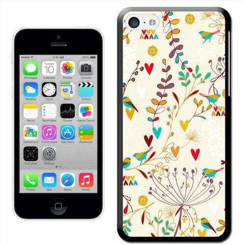 Jardins de Paradis Coque arrière rigide détachable pour Apple iPhone modèles, plastique, Birds Flowers & Hearts 1, iPhone 5C Birds Flowers & Hearts 1