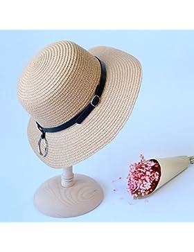LVLIDAN Sombrero para el sol del verano Lady Anti-Sol Playa sombrero de paja caqui