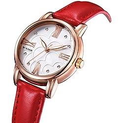 Gokelly wwoor Damen Rot Echtes Leder Rose Gold Diamant Uhren Damen Femme Casual Kleid Uhr Quarzuhr