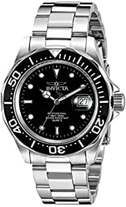 INVICTA Pro Diver Men's Quartz Watch with Black Dial Analogue Display and Silver Stainless Steel Bracelet 9307