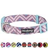 Blueberry Pet Ethno Muster Inspiriertes Atemberaubendes Zigzag Hundehalsband, Malvenfarben, S, Hals 30cm-40cm, Verstellbare Halsbänder für Hunde