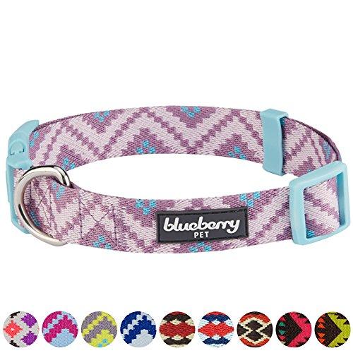 Blueberry Pet Ethno Muster Inspiriertes Atemberaubendes Zigzag Hundehalsband, Malvenfarben, M, Hals 37cm-50cm, Verstellbare Halsbänder für Hunde