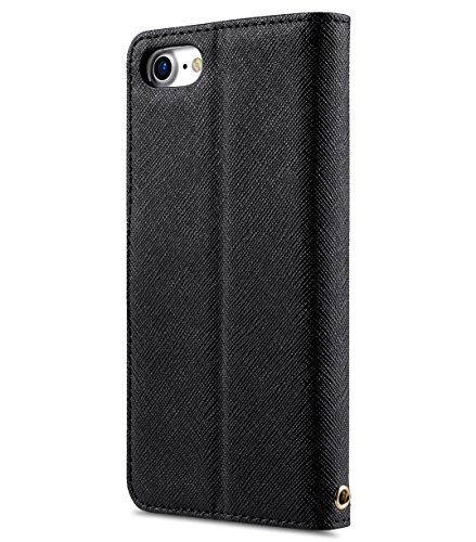 Apple Iphone 7 Melkco Jacka Type Premium Leather Case with Premium Leather Hand Crafted Good Protection,Premium Feel-Red LC Black Cross pattern 1