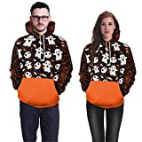 OverDose Damen Liebhaber Scary Halloween Ghost 3D Real Print Party Clubbing Charming Lange Ärmel Top Caps Sweatshirt Bluse Pullover