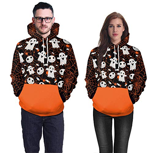 aber Scary Halloween Ghost 3D Real Print Party Clubbing Charming Lange Ärmel Top Caps Sweatshirt Bluse Pullover ()