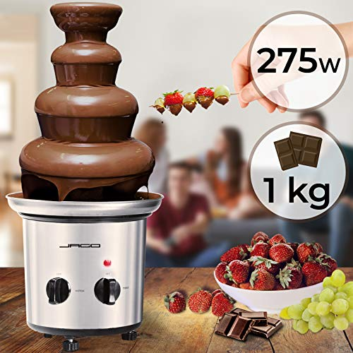 Schokoladenbrunnen 275W - 4 Etagen, Kapazität 1 kg Schokolade, Edelstahl, Spülmaschinenfest, Silber - Schokobrunnen, Schokofondue, Schokoladenfondue