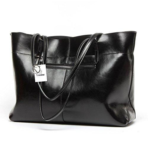 Yoome Borsa da donna vintage in vera pelle di tote borse a tracolla morbida borsa a tracolla messenger borsa hobo - blu Nero