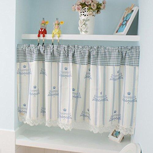 HongYa Kleinfenster Küche Gardine Scheibengardine Tunnelzug Cafe Vorhang mit Karo- und Streifenmuster H/B 80/130cm Blau