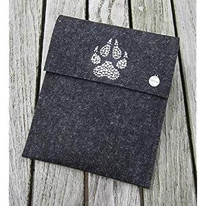 zigbaxx eReader Hülle TIGER Case Sleeve Filz mit Tatze u.a. für Tolino Epos,Vision 4HD 3HD,Shine 2HD & Page - Schutzhülle aus 100% Wollfilz - Weihnachtsgeschenk - pink schwarz beige grau braun