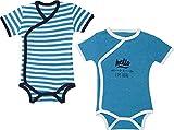 Baby Butt Wickelbody 2er-Pack mit Druckmotiv Interlock-Jersey blau/weiß Größe 86/92